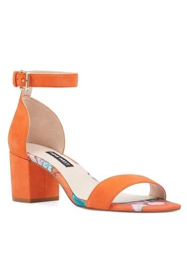Nine West Kalın Topuklu Süet Sandalet Oranj